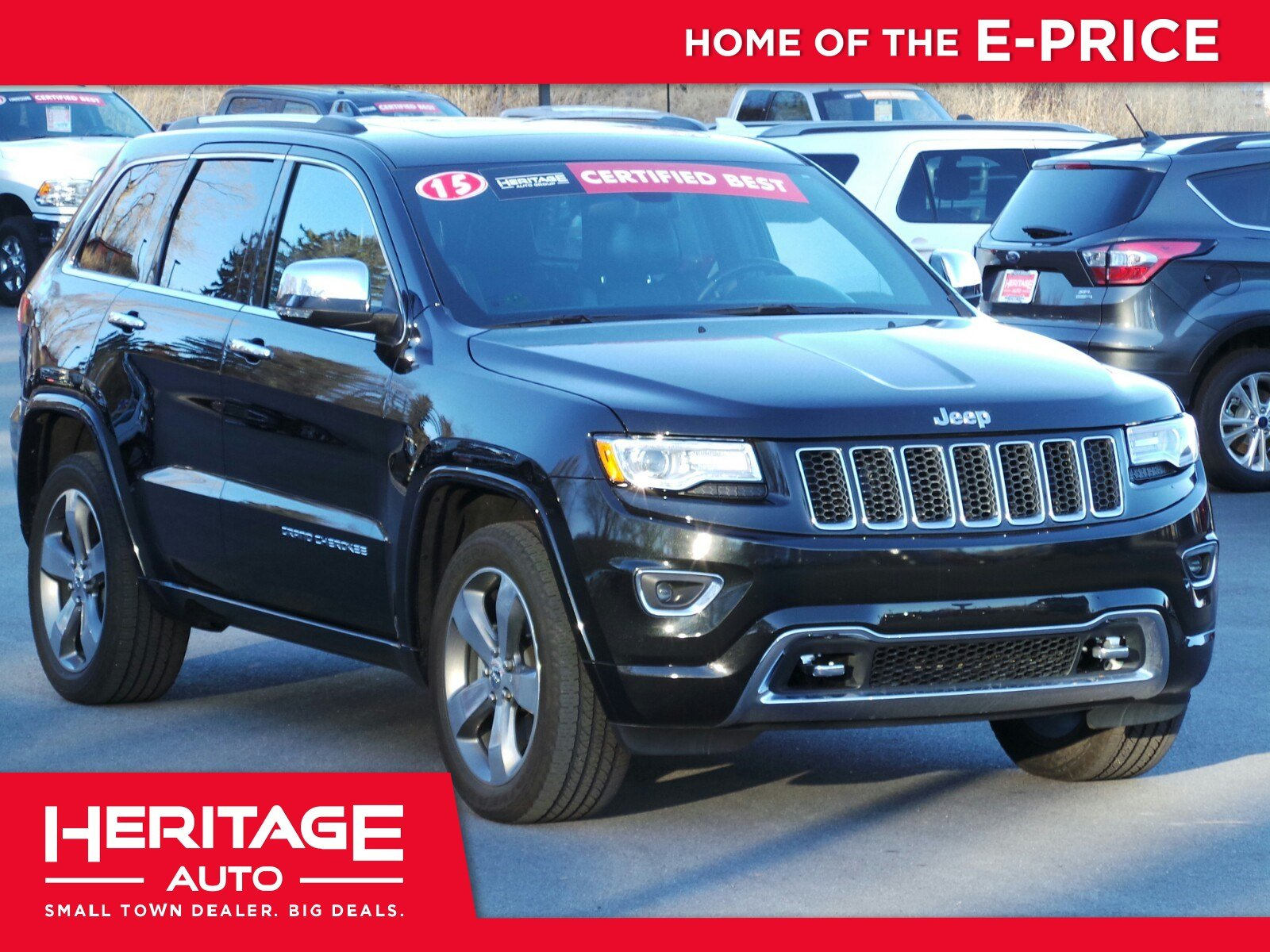 pre owned 2015 jeep grand cherokee overland sport utility 3u859420 heritage auto group. Black Bedroom Furniture Sets. Home Design Ideas